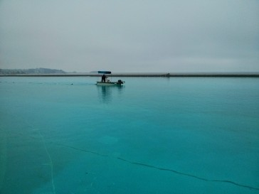 Barco limpando a piscina